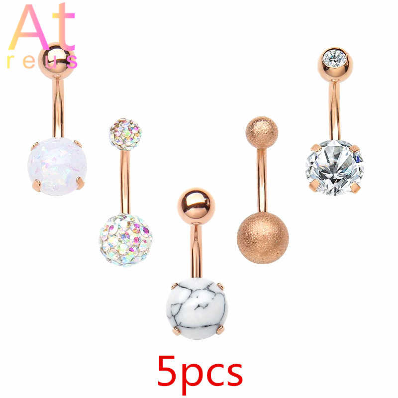 5 pcs/set Women Beauty Navel Button Rings Medical Steel Rhinestone Sexy Belly Navel Piercing Ring Body Jewelry Pendientes