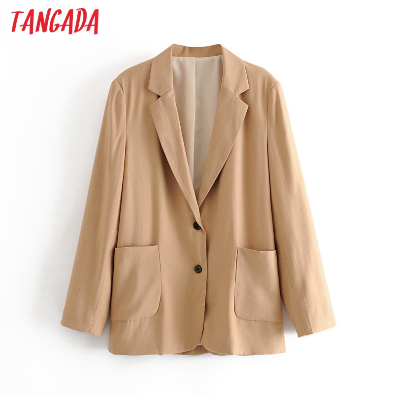 Tangada Women Vintage Khaki Cotton Blazer Female Long Sleeve Boy Friend Style Jacket Ladies Casual Loose Blazer Suits 3H600
