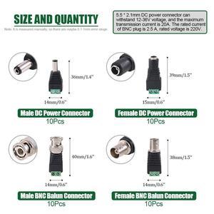 Image 5 - 2.1x5.5mm หญิงและชาย DC Power Adapter Coaxial กล้อง BNC ชายและหญิง Balun Connector สำหรับ Coax Cat5 กล้องวงจรปิด