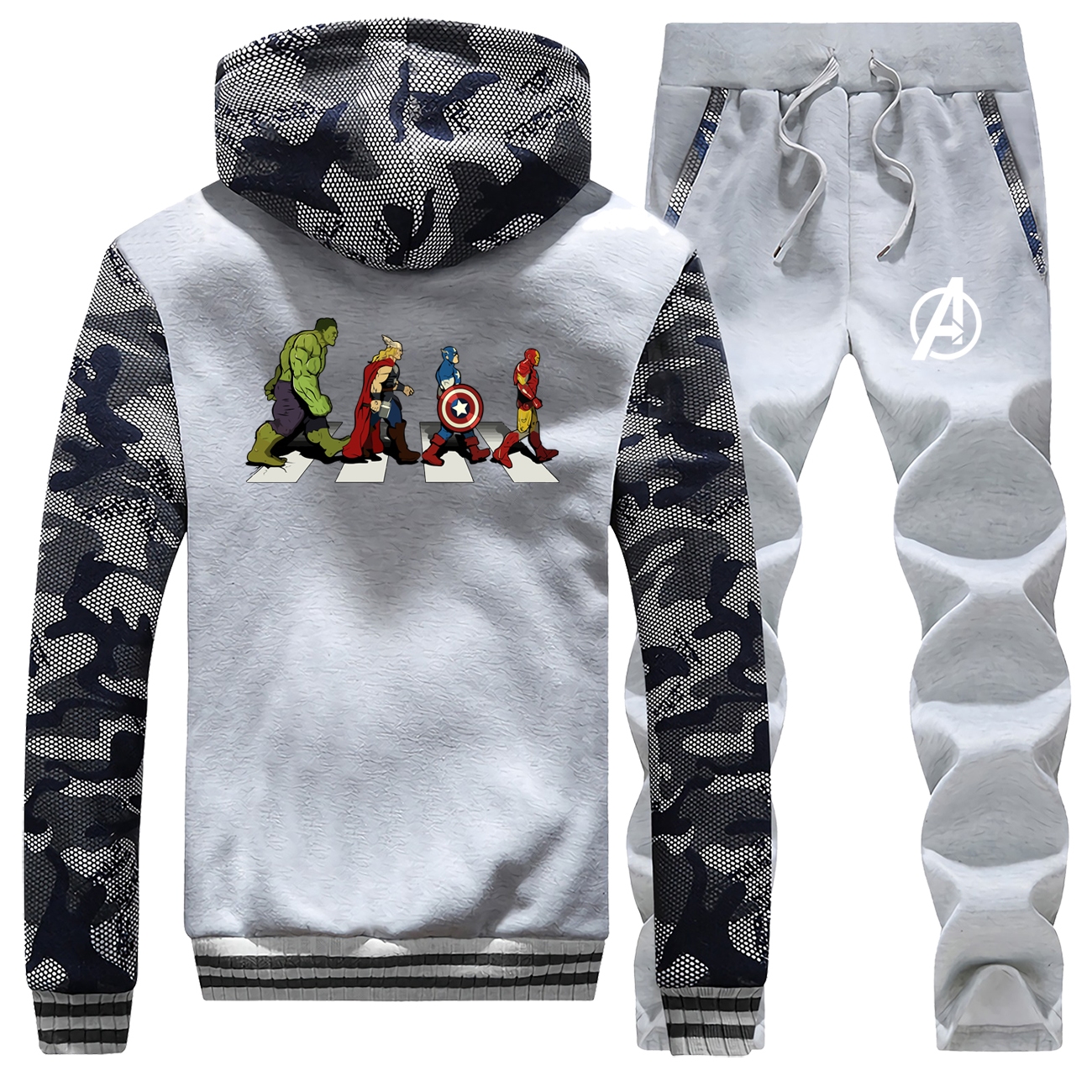 New 2019 Winter Coat Thick Hoodies Suit The Avngers Raglan Mens Sweatshirts Camouflage Jackets Zipper Hooded+Pants 2 Piece Set