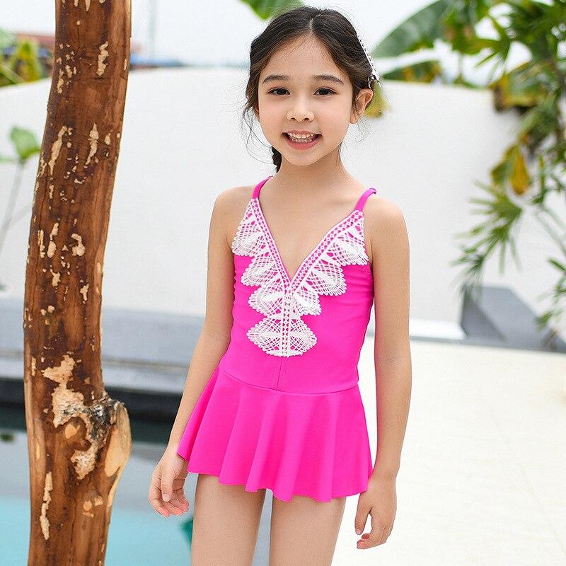 Europe And America Girls Siamese Swimsuit GIRL'S Medium-small Big Kid Dress-Lace Edge Baby Swimwear