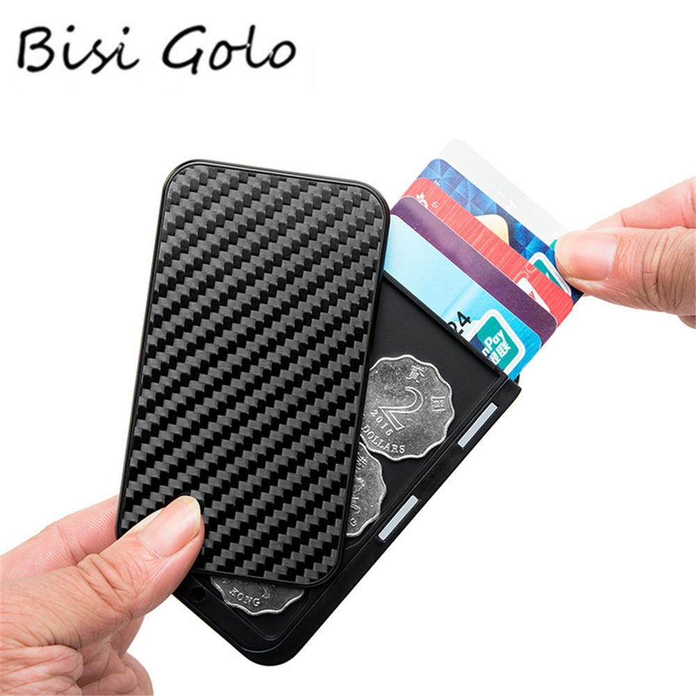BISI GORO Carbon Fiber Aluminum Card Holder Multi RFID Blocking Money Bag Security Smart Wallet Cartera Feminina Tarjetero 2020
