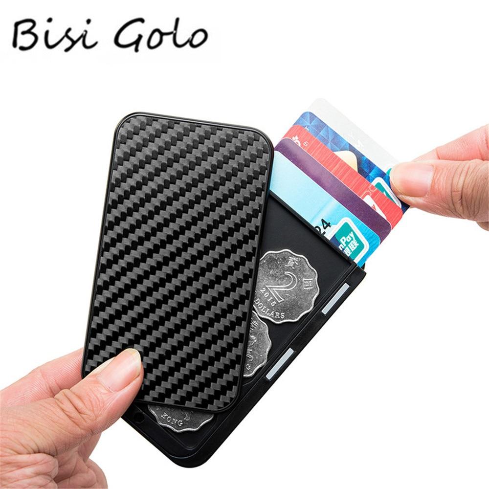 BISI GORO Carbon Fiber Aluminum Card Holder Multi RFID Blocking Money Bag Security Smart Wallet Cartera Feminina Tarjetero 2020