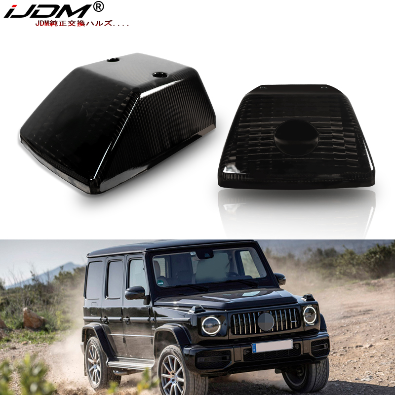 IJDM Gloss Black Front Turn Signal Lamp Lenses For 1986-18 Mercedes W463 G-Class G500 G550 G55 G63 G65,OE-Spec Replacement