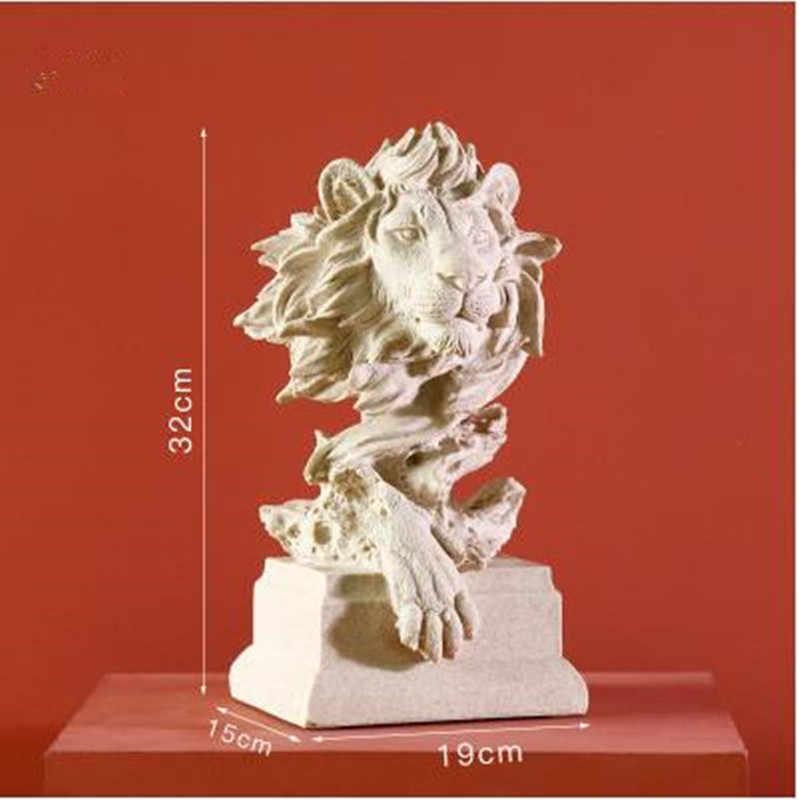 אירופאי creative האריה פסל מלאכות, בעלי החיים ראש פיסול, בית משרד מסעדה בר שולחן קישוט מתנות