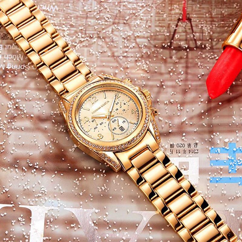 Image 5 - 2019 Top Luxury Brand Women Rhinestone Rose Gold Sport Watches Montre Femme Calendar Waterproof Fashion Dress Ladies Gift WatchWomens Watches   -