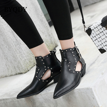 BYQDY Sexy Rivets Autumn Ankle Boots For Woman Cow Leather Chunky Heel Zipper Ladies Booties Buckle Solid Black Short