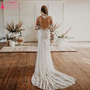 Image 2 - Marzycielski unikalne suknie ślubne Gypsy Hippie uderzające koronkowe suknie ślubne czeski Vestido De Noivas elegancka, z frędzlami ZW229