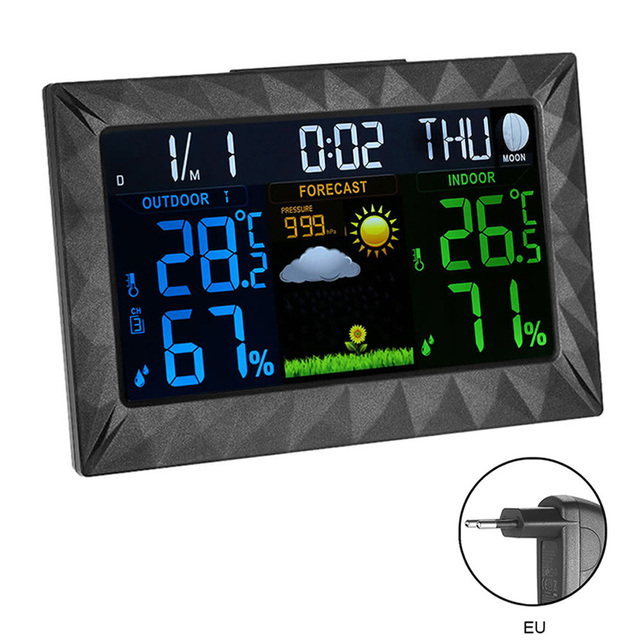 Colorful Screen Hygrometer Wireless Home Ultra Thin Weather Station Thermometer Forecast Sensor Indoor Outdoor Digital Barometer