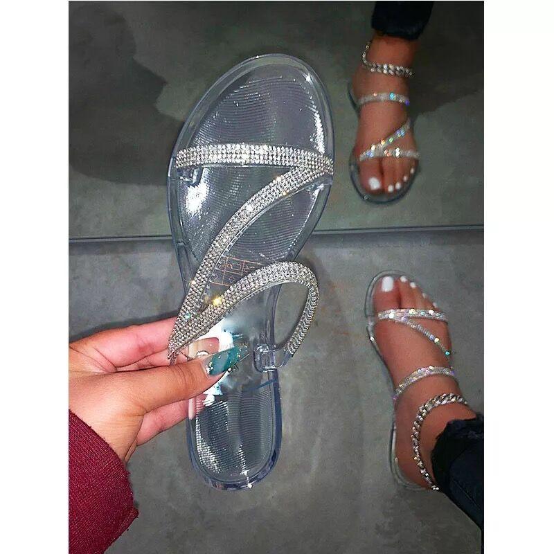 2020 Women Summer Flat Slippers Rhinestone Jelly Shoes Open Toe Roman Beach Ladies Flip Flops Black Non-slip Female Slides