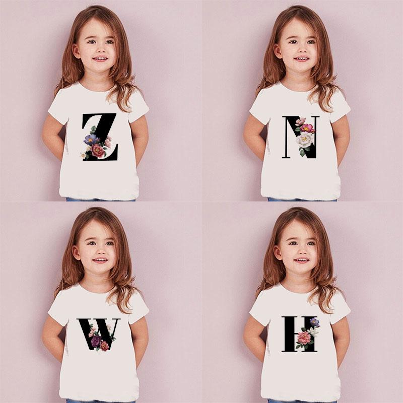 Letters Plant Novelty Printed 2020 Boys Cloth Kids T Shirt Kawaii Girls Tops Casual Baby Girl Shirt Summer Fashion Short Sleeve