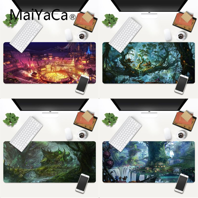 MaiYaCa Your Own Mats Fantasy Town Tree gamer play mats Mousepad Gaming Mouse Pad Large Deak Mat 700x300mm for overwatch/cs go