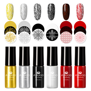 MSRUIOO 8ML Black White Nail Stamping Polish Lacquer Gold Silver Nail Art Plate Stamp Oil White Night Stamping Series(China)