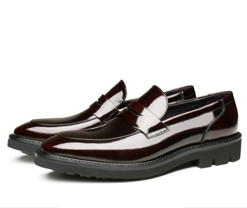 New Black / Wine Red Loafers Mens Wedding Shoes Patent Leather Dress Shoes Boys Prom Shoes