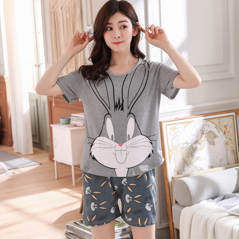 New Style Summer Pajamas WOMEN'S Short Sleeved Shorts Korean-style Qmilch Thin Students Casual Plus-sized Homewear Set