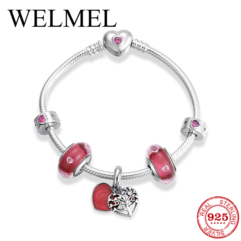 Luxury S925 Women Bracelet Silver Enamel Crystal Charm Bracelet for Women DIY 925 Murano Beads Bracelets & Bangles Jewelry Gift