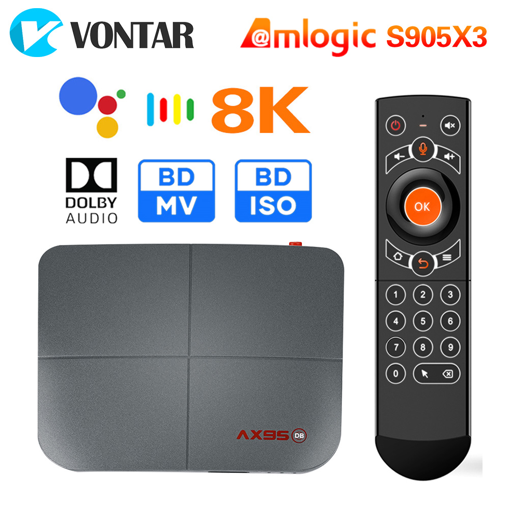 Ax95 4gb 128gb smart tv caixa android 9.0 amlogic s905x3 4k 8k suporte dolby bd mv bd iso duplo wifi youtube netflix media player