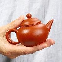 Tetera de arcilla roja  tetera de mano pura  mineral crudo  tetera horizontal  número pequeño  juego de té Yixing 90ml