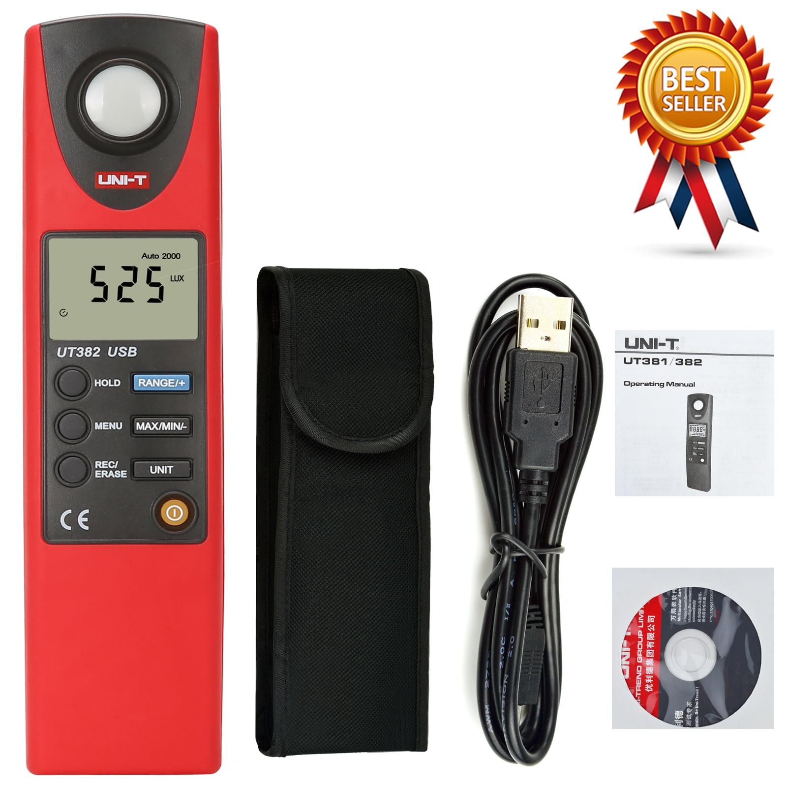 UNI-T UT382 Illuminometer 20000Lux Professional Pocket Photometer Automatic Shutdown Data Storage USB Data Transmission