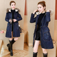 Winter Fur Denim Jacket Women Bomber Jacket Long Sleeve Washed Blue Jeans Jacket Coat with Warm Lining Front Button Flap Pockets(China)