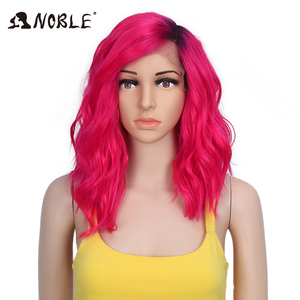 Noble Synthetic Lace Front Wig Curly Hair 14 Inch Blonde Ombre Wig Cosplay Wigs for Black Women Synthetic Wig Lace Front Wig(China)