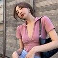 Популярное Европейское и американское пальто, женская летняя пикантная облегающая тонкая розовая короткая футболка с глубоким v-образным в...