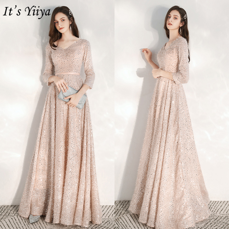 It's Yiiya Evening Dresses Elegant Pink Sequins Evening Dress Long Plus Size Formal Gowns 2020 Shining Robe De Soiree LF179