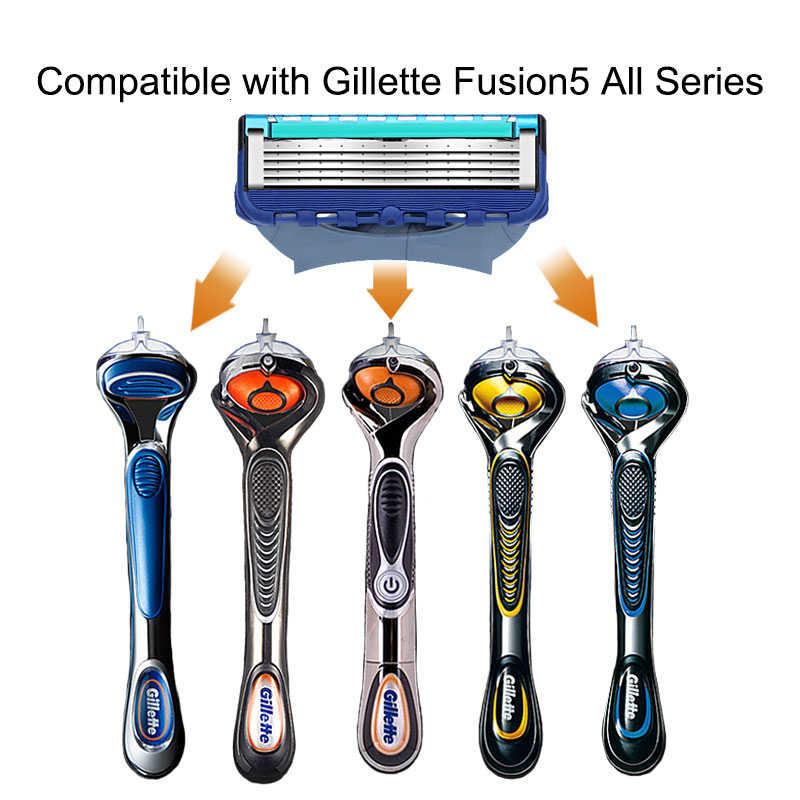 Cassetes para Fusão Gillette navalha Cabeças de Substituição 5 Camadas de Aço Inoxidável Lâminas de Barbear Manual de Barbear Navalha para Os Homens