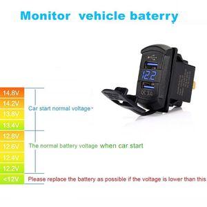 Image 4 - Interruptor de carga rápida 3.0, carregador usb duplo qc 3.0 com led voltímetro para carros, caminhões, motos, smartphones e tablet
