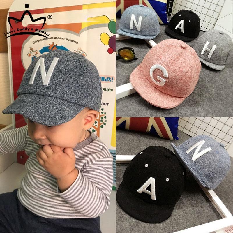 Baby Boy Hat Letter Kids Baseball Cap Cotton Adjustable Sun Hats Girls Peaked Caps Summer Winter(China)