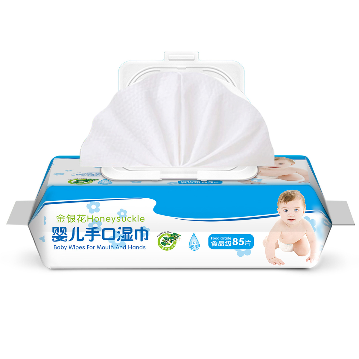 85 Wipes/Pack Non-woven Fabric Baby Wipes Alcohol Free Wet Wipes  Fragrance-free No Fluorescent Agent No Pigment No Propanediol