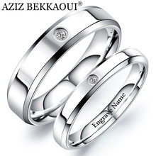 AZIZ BEKKAOUI Engrave Name Couple Rings Simple Style Stainless Steel Wedding Rings with Crystal for Women Men Promise Jewelry(China)