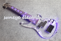 Hot Sale 7 String Electric Bass Guitar Acrylic Guitar Body & Head Bass Guitar With Light Free Shipping