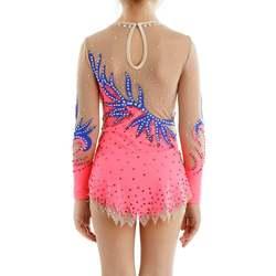 Justaucorps de gymnastique de compétition de gymnastique artistique rose enfants Performances justaucorps Style et taille personnalisés