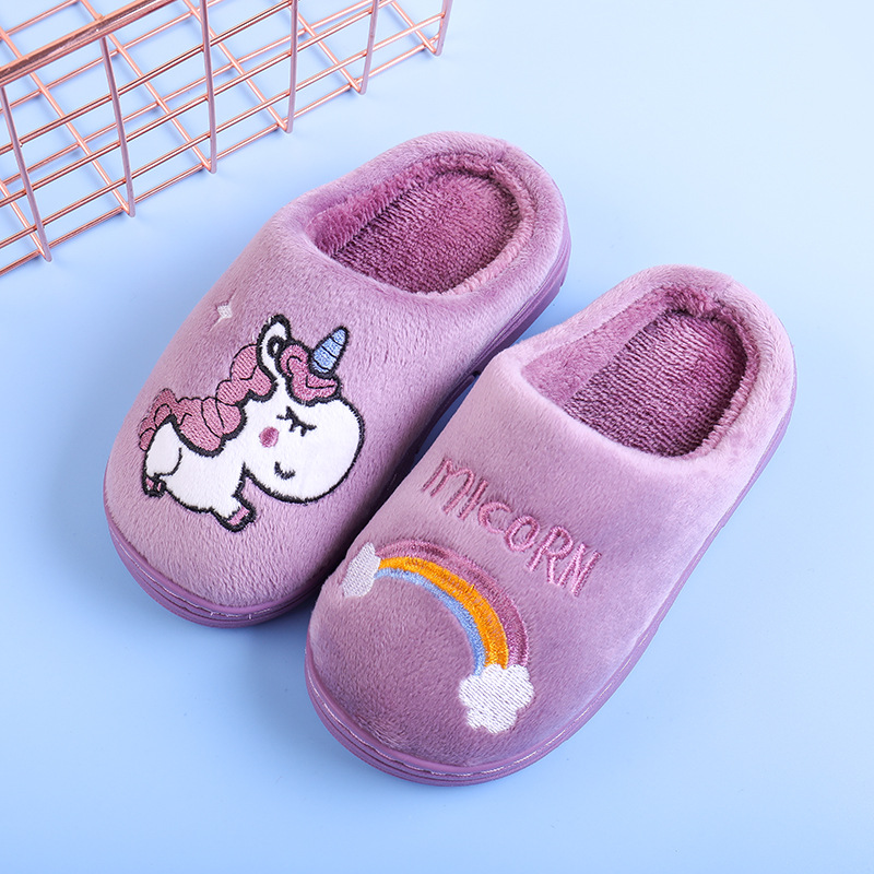 Children's Winter Shoes Cartoon Home Unicor Slipper For Girls Warm Cotton Slippers Boys Girls Non-Slip Slippers Shoe S M L Kids
