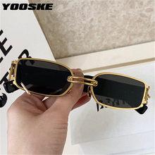 YOOSKE Marke Deisgn Vintage Quadrat Sonnenbrille Männer Frauen Metall Kleine Sonnenbrille Retro Schwarz Rosa Trend 90s Brillen UV400