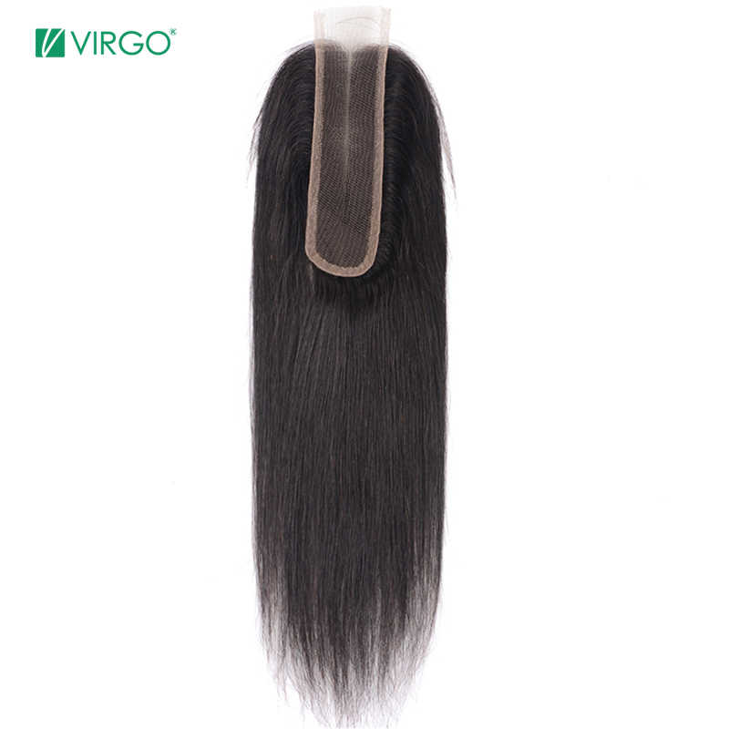 Virgo Middle Part Lace Closure 2x6 Brazilian Human Hair Straight Natural Color 100% Remy Hair Closure Free Shipping