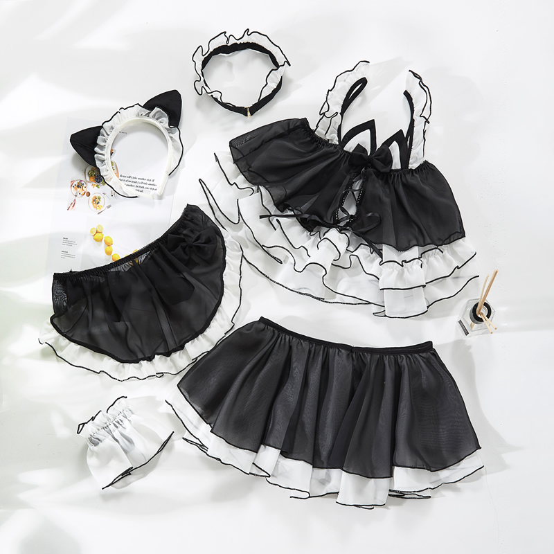 Image 5 - Little Cute Cat Girl Sexy Maid Uniform Temptation Hot Transparent Kawaii Lingerie Ruffle Cosplay Sex Toys Role playingLingerie Sets   -