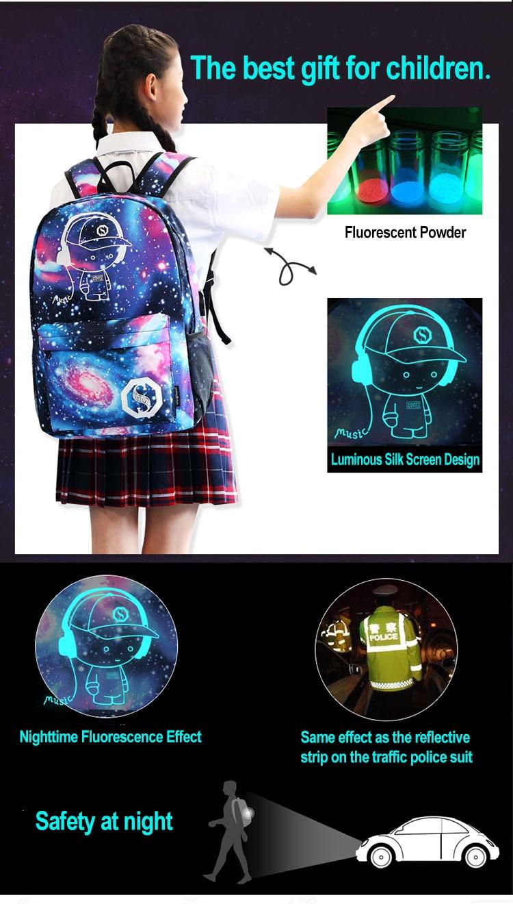 Anti ladrão luminosa estudante saco de escola