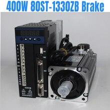 цена на Lichuan 400W 2A AC Servo Motor 3000RPM Single Phase 80ST M01330ZB brake motor  with cables  AC 400W Servo driver + Servo Motor