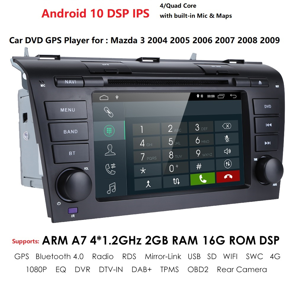 2G + 16G Android 10 Car Radio For <font><b>Mazda</b></font> <font><b>3</b></font> 2004-2009 maxx axel Wifi Auto Stereo car dvd <font><b>gps</b></font> <font><b>Navigation</b></font> stereo Multimedia Player image