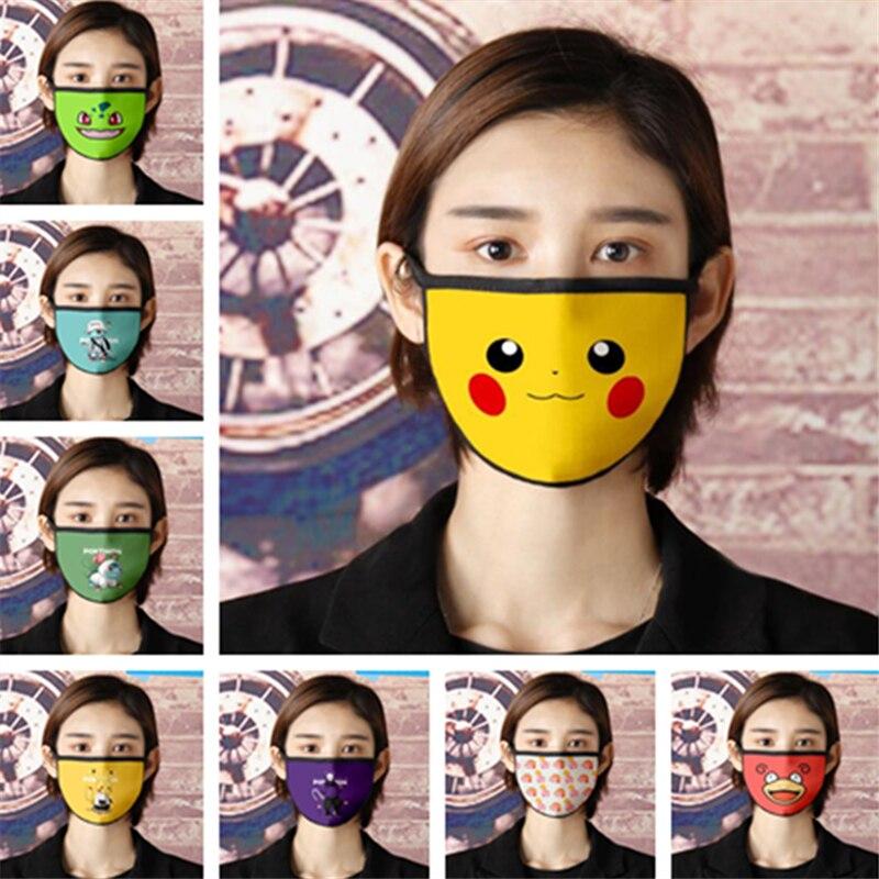 Pokemon Mask Anime Cartoon Cute Pikachu Cosplay Accessories Dustproof Anti-fog Fashion Printed Wash Mask