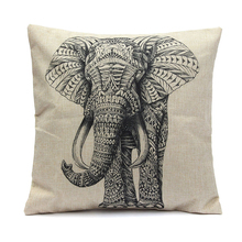купить Vintage Elephant Pillow Cover Cotton Linen Sofa Waist Cushion Case Home Decor дешево
