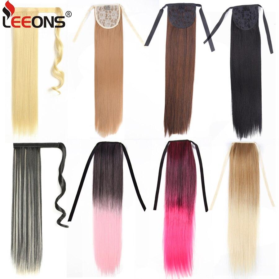 Leeons 20 Synthetische Paardenstaart Haarstukken Hittebestendige Vezel Rechte Lint Clip In Hair Extensions 21 Kleuren Bruin Zwart