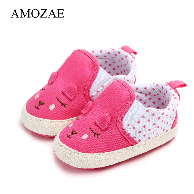 Baby Girls First Walker For Newborn Animal Pattern Baby Shoes Spring Anti-slip Toddler Cute Baby Girl Casual Canvas Shoes
