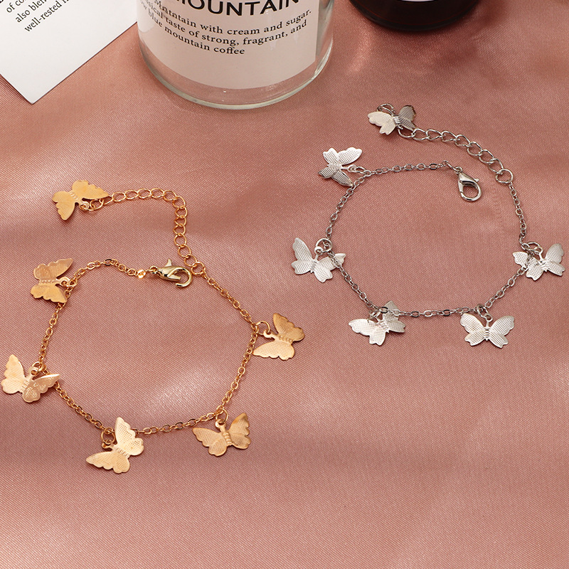 Nova chegada única camada borboleta pulseira simples meninas doce borboleta pingente charme pulseiras mão jóias presentes para as mulheres