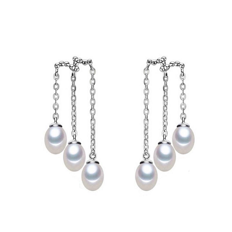 Korejský styl 925 mincovní stříbro Perfektní perlové náušnice - Šperky