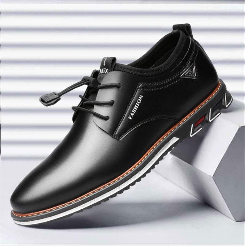 Newest Luxury Pointed Toe Casual Leather Shoes Men's Fashion Lace Up Business Dress Oxfords Solid Wedding Office Males Flats Man (1)