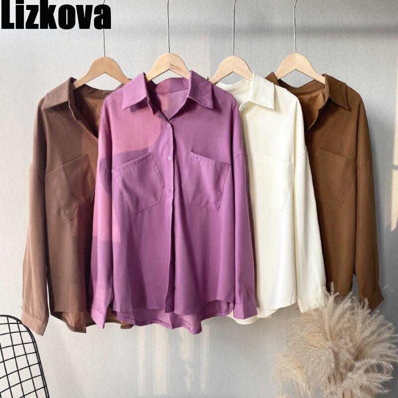 Lizkova белый Карманы Блузка для женщин с длинным рукавом рубашка свободного кроя 2021 элегантные официальные дамские повседневные топы