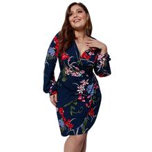 цена на Long-sleeved dress fashion casual women's large size V-neck tie bandage print curved hem wrapped hips casual loose dress